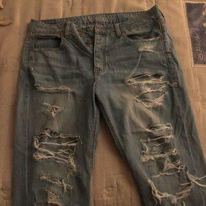 Heavily Distressed Boyfriend Jeans